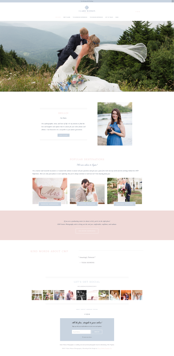 Claire Watson Photography - Branding & Site Design by Three Hellos Creative Co.