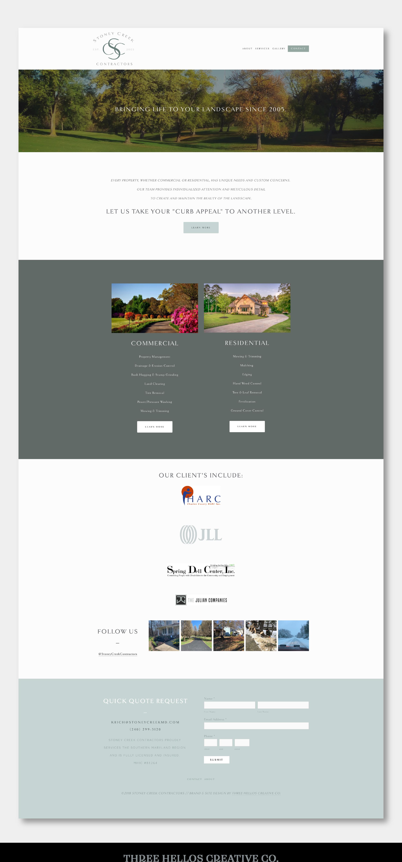 Three Hellos Creative Co. Landscape Company Website