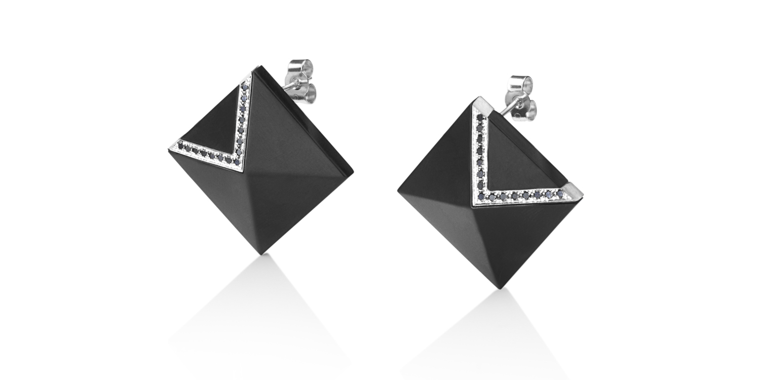 Inlaid Whitby jet studs with 18CT white gold and black diamonds