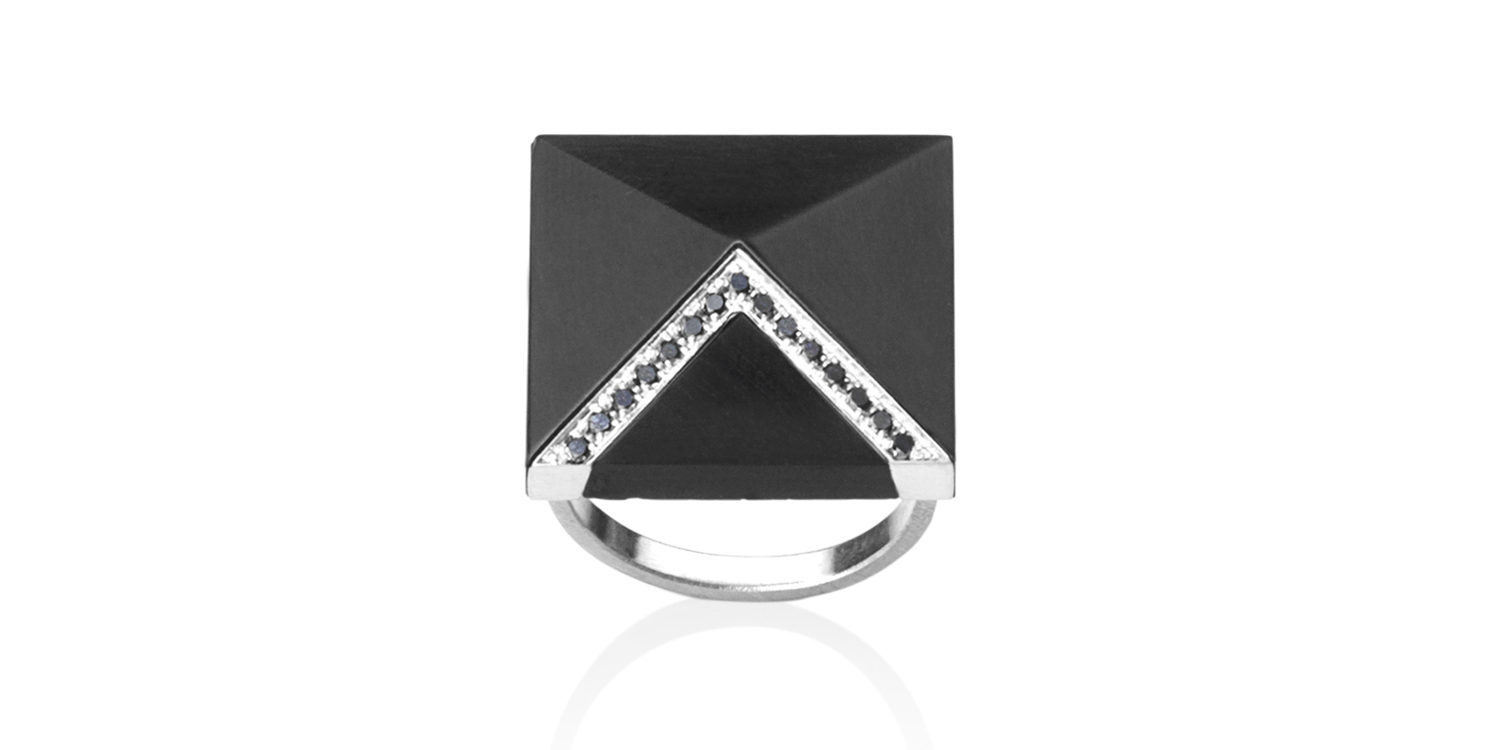 Inlaid Whitby jet ring with 18CT white gold and black diamonds