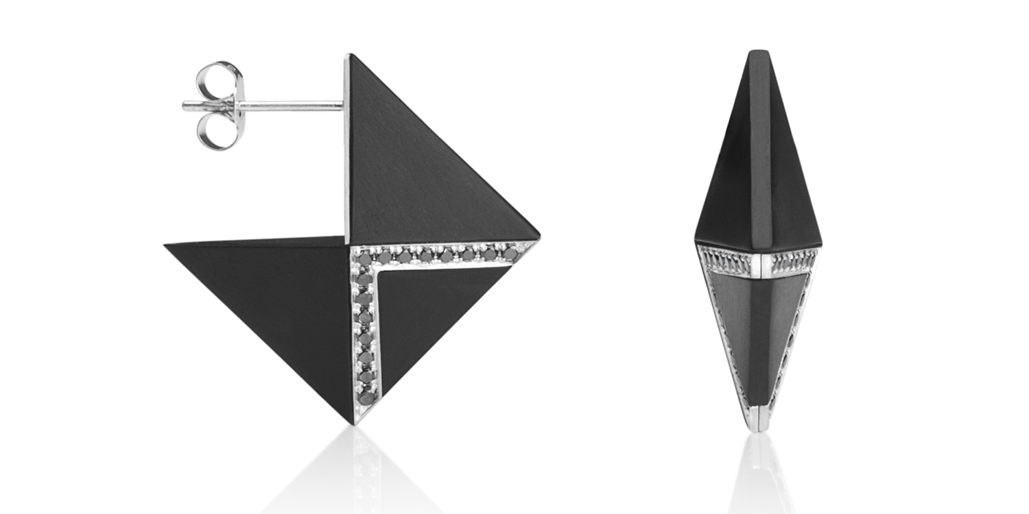 Inlaid Whitby jet double-sided earrings with 18CT white gold and black diamonds