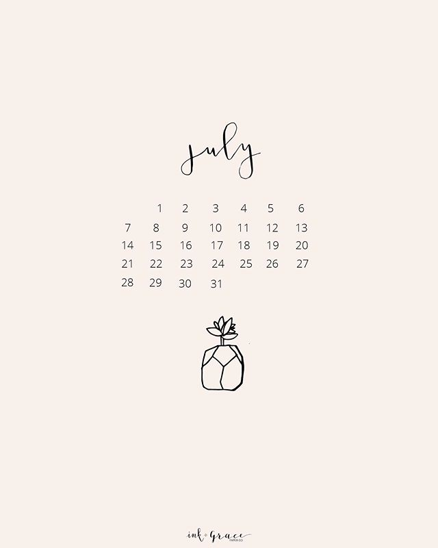 Hello July + Happy Canada Day. Bring on wedding season. Camping. Beach Days. Popsicles. ☀️ . . . Link for this free download and a desktop one are in the bio. I love seeing your photos, tag #myinkandgrace. Xo.