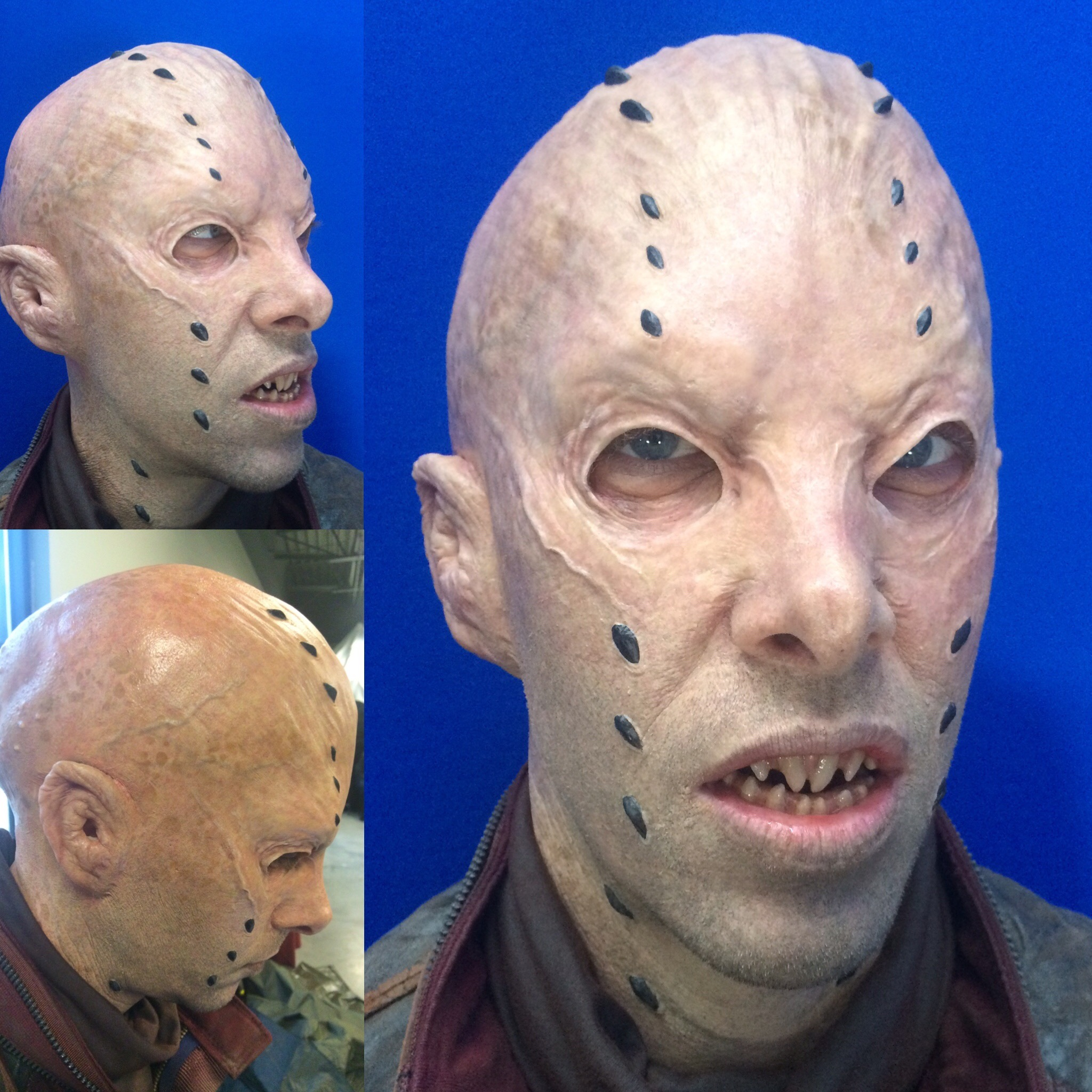 Prosthetics made by Legacy. Application only under the direction of Brian Sipe. Guardians of the Galaxy 2.