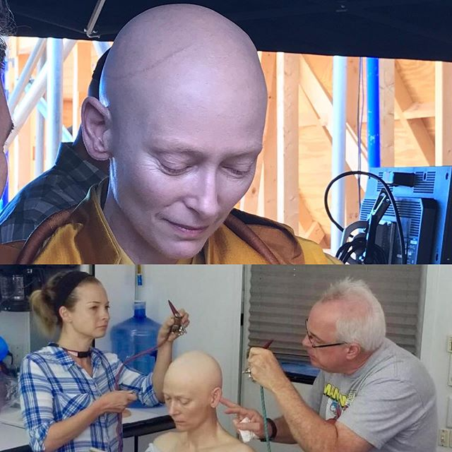 "Under the direction of Department Head John Blake, Bart Mixon and I both got the opportunity to apply a silicone bald cap on the incredible Tilda Swinton for her part as the ""ancient one"" in Avengers Endgame. I also got the rare opportunity to use some beauty skills. Pretty happy with the way it came out, I didn't see much CGI touch up in the end."