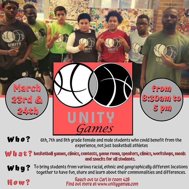 It is that time of year again! The #UnityGames are back in Staten Island and they're open to all middle school students not just athletes!  If you are interested, please see Carl in room 428 ASAP!! Spaces are limited!! Check out http://www.UnityGames.com for more information!