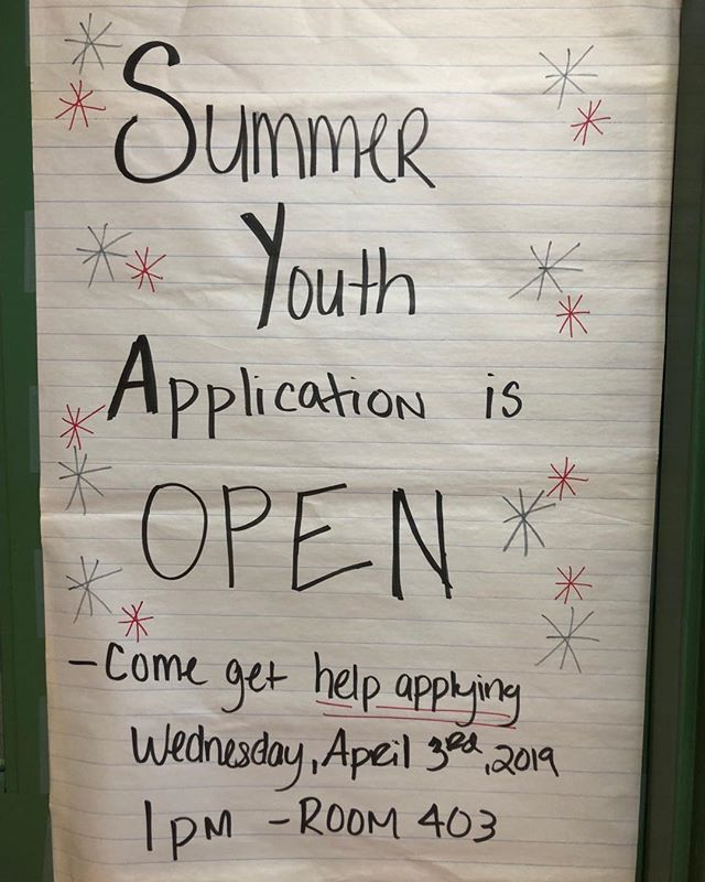 Time to get your Summer Youth applications in!