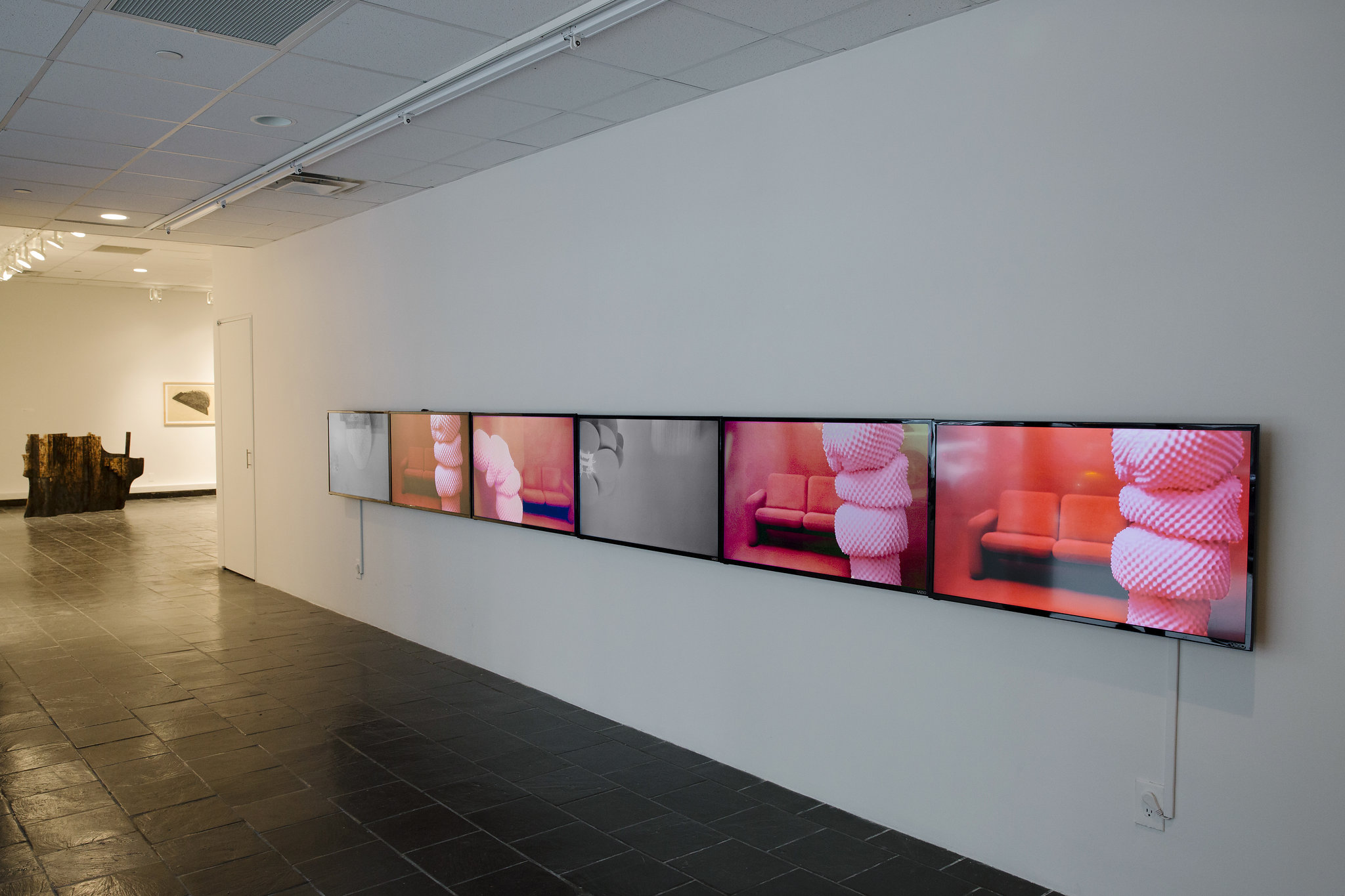 Installation view:  Homecoming: Katherine Behar, Oliver Herring, Julia Jacquette, Yashua Klos,  Hunter College Art Galleries, 2017. Katherine Behar,  Modeling Big Data , 2014. Photo by Natalie Conn.