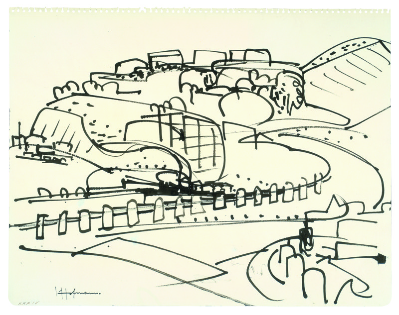 Hans Hofmann,  Oil Tanks from Richmond [XXXIV], c. 1931. Ink on paper, 10 ¾ x 13 ½ inches. Kim Keever. With permission of the Renate, Hans & Maria Hofmann Trust / Artists Rights Society (ARS), New York