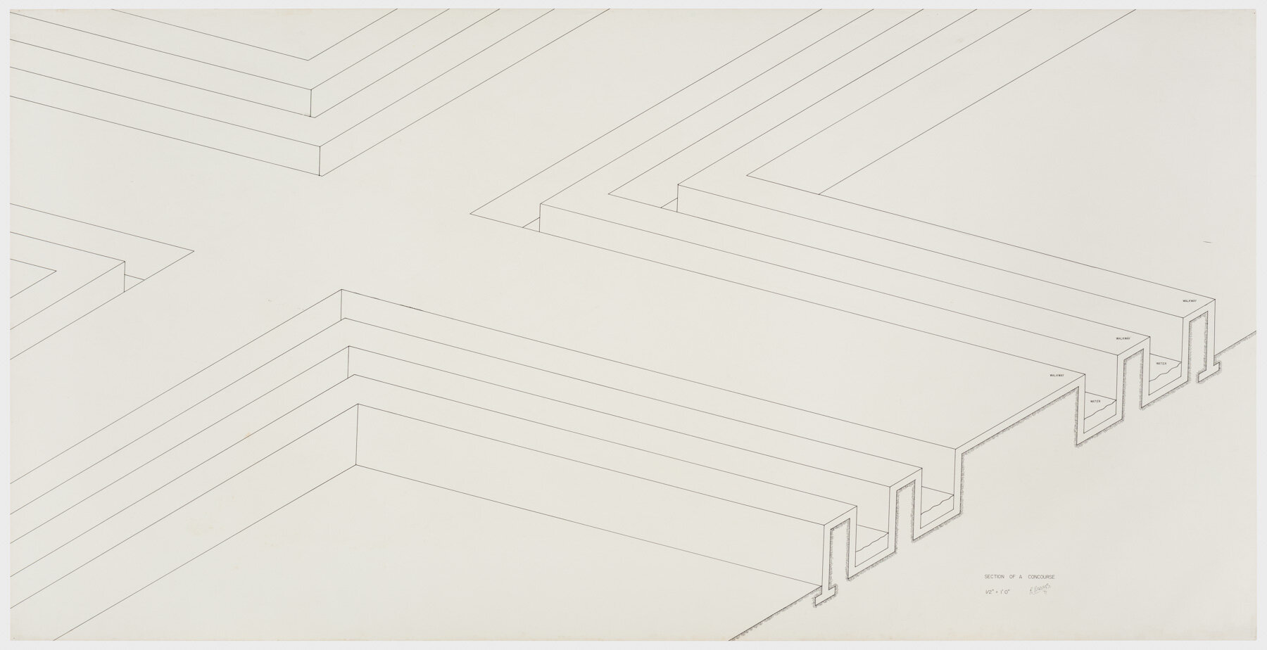 Robert Morris.  Section of a Concourse , 1971. Ink on paper, 42 x 83 in. (107 x 211 cm). Estate of Robert Morris, courtesy Castelli Gallery, New York. © 2019 The Estate of Robert Morris / Artists Rights Society (ARS), New York. Photo: Stan Narten