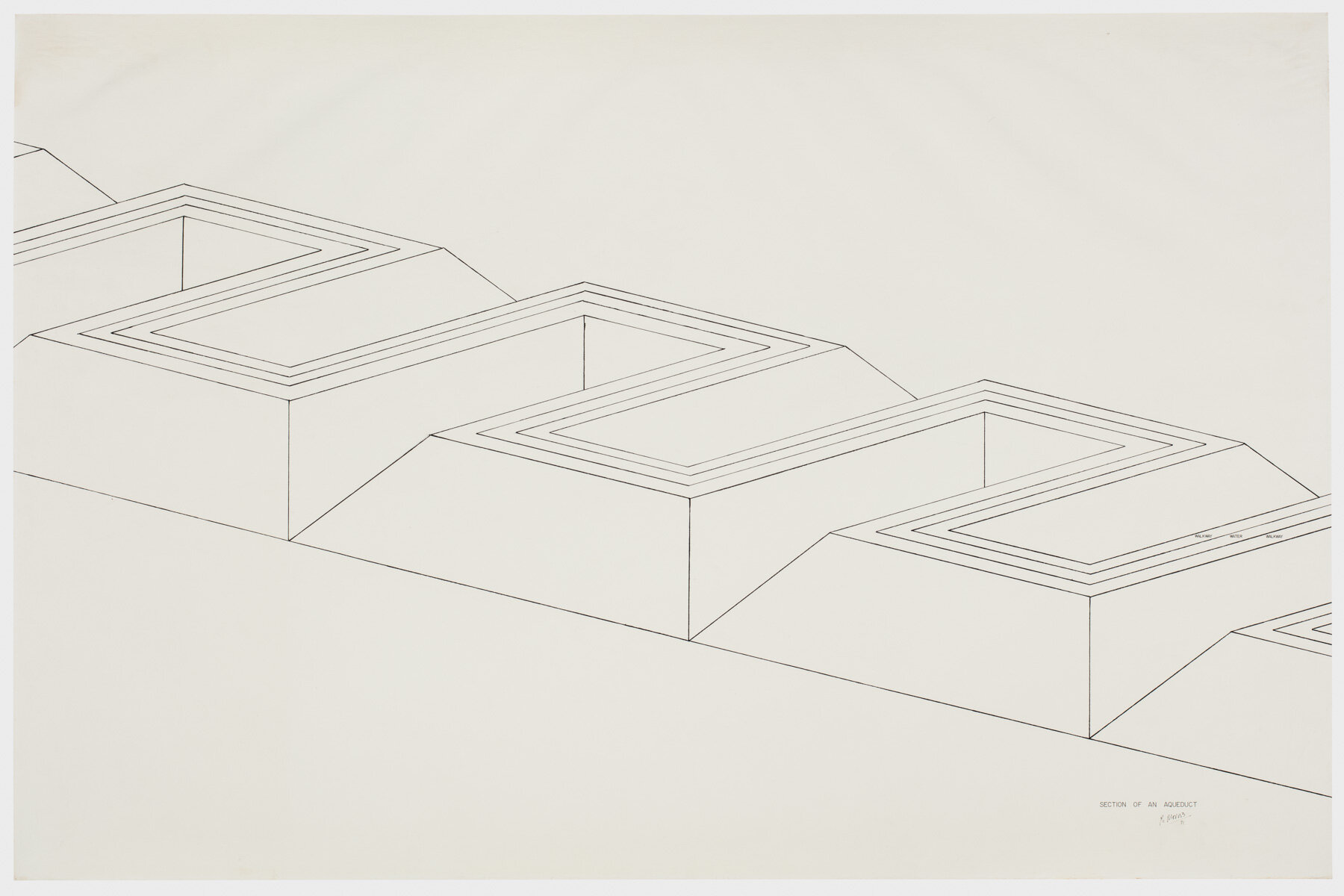 Robert Morris.  Section of an Aqueduct , 1971. Ink on paper, 42 x 64 in. (107 x 163 cm). Estate of Robert Morris, courtesy Castelli Gallery, New York. © 2019 The Estate of Robert Morris / Artists Rights Society (ARS), New York. Photo: Stan Narten