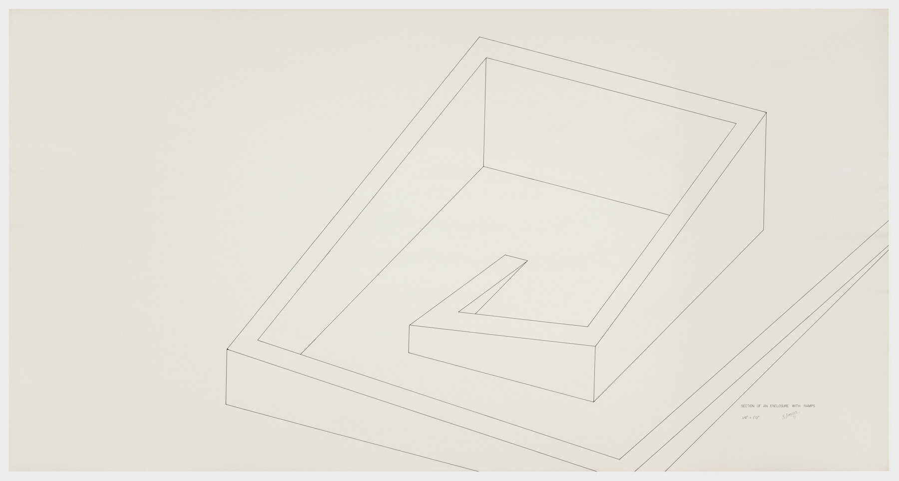 Robert Morris.  Section of an Enclosure with Ramps,  1971. Ink on paper, 42 ¼ x 80 ½ in. (107 x 204 cm). Estate of Robert Morris, courtesy Castelli Gallery, New York. © 2019 The Estate of Robert Morris / Artists Rights Society (ARS), New York. Photo: Stan Narten