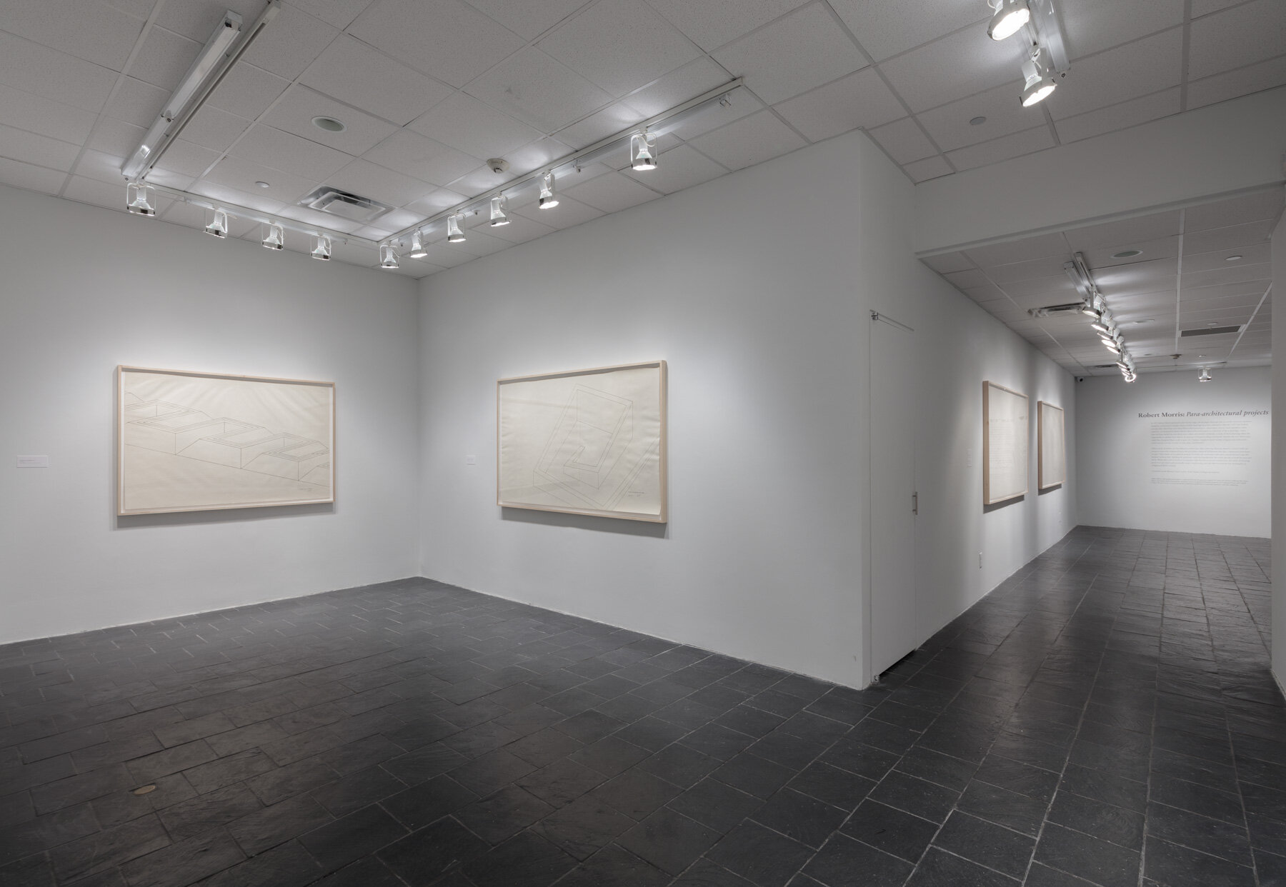 Installation view:  Robert Morris: Para-architectural projects , Hunter College Art Galleries, 2019. © 2019 The Estate of Robert Morris / Artists Rights Society (ARS), New York. Photo: Stan Narte