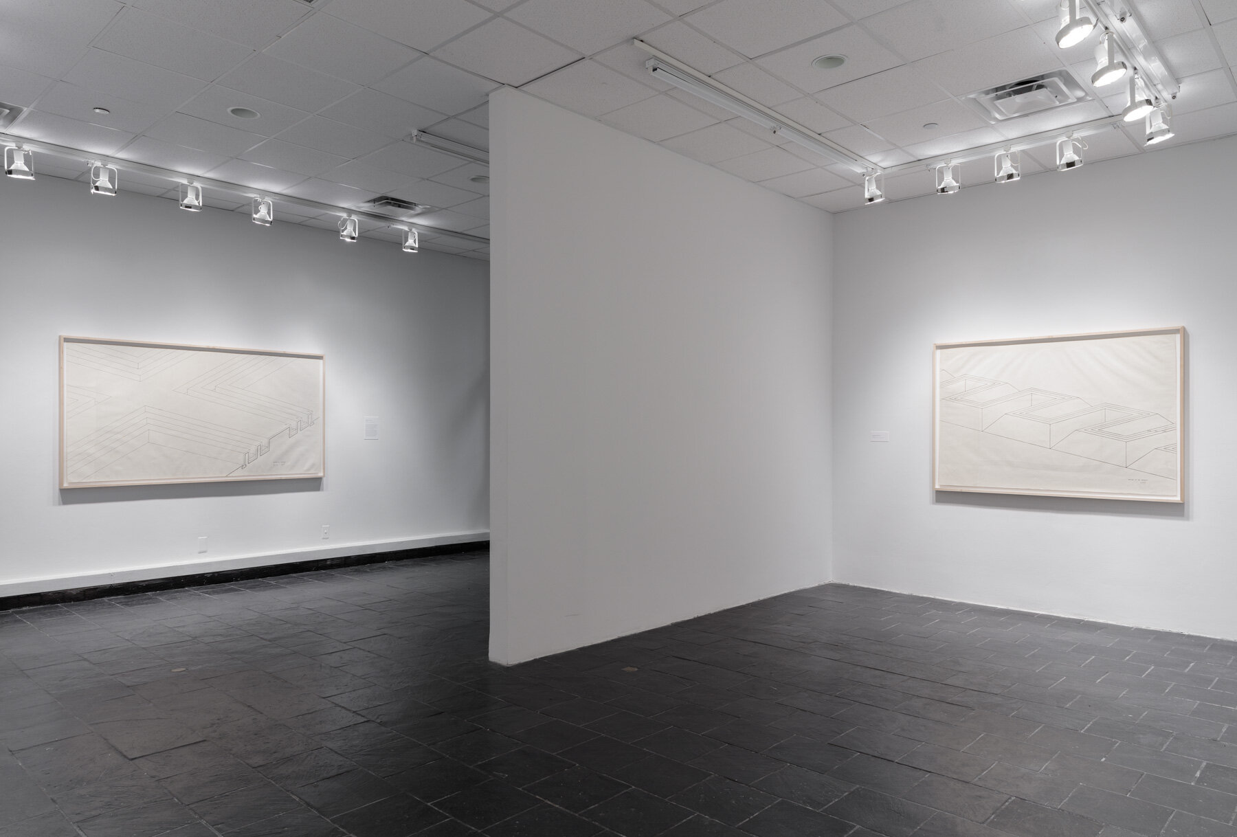 Installation view:  Robert Morris: Para-architectural projects , Hunter College Art Galleries, 2019. LEFT:  Section of a Concourse , 1971. Ink on paper, 42 x 83 in. (107 x 211 cm). Estate of Robert Morris, courtesy Castelli Gallery, New York.RIGHT: Section of an Aqueduct , 1971.Ink on paper, 42 x 64 in. (107 x 163 cm). Estate of Robert Morris, courtesy Castelli Gallery, New York. © 2019 The Estate of Robert Morris / Artists Rights Society (ARS), New York. Photo: Stan Narte