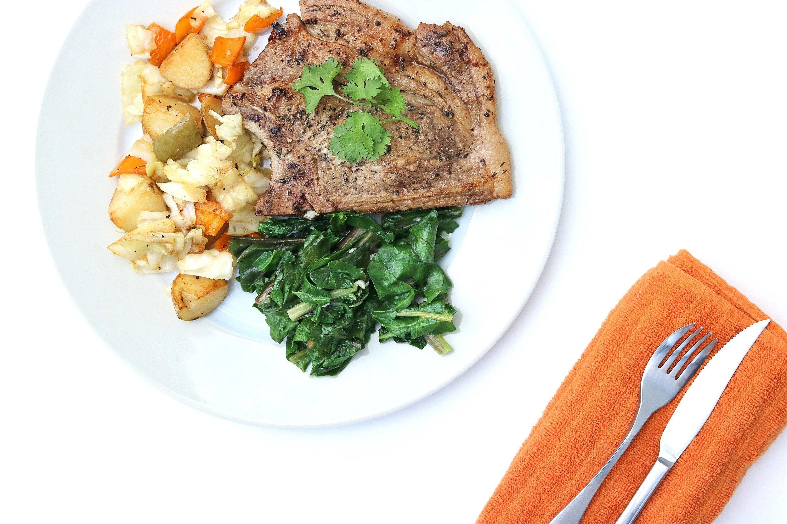 Juicy Pork Chop with Roasted Veggies