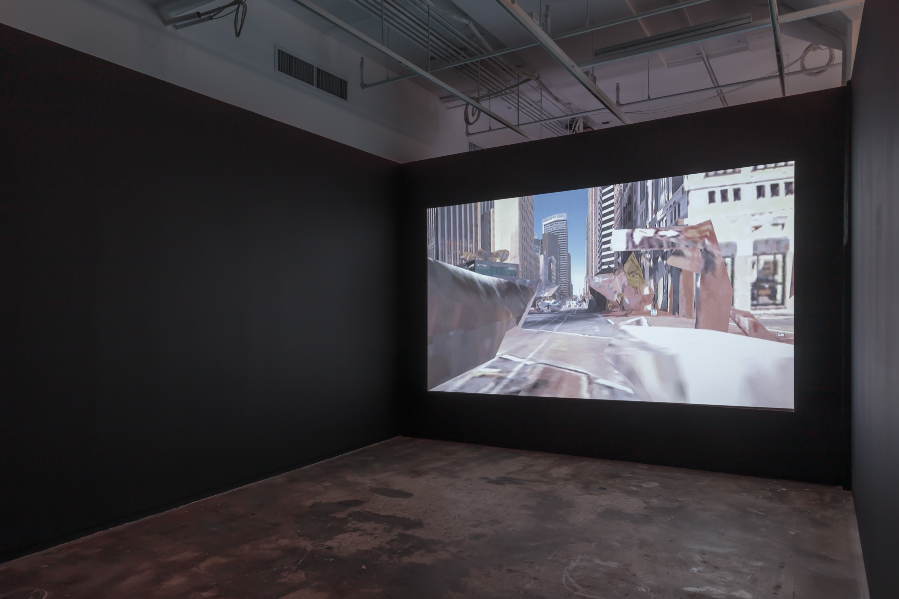 Stephanie Syjuco, Spectral City (A Trip Down Market Street, 1906/2018),  2018. Video, 13 min. 29 sec., sound. Courtesy of Catharine Clark Gallery, San Francisco and RYAN LEE Gallery, New York. Installed in  Refiguring the Future , Hunter College Art Galleries, 2019. Photo by Stan Narten.