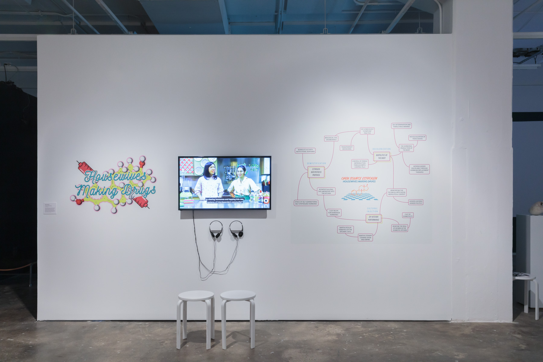 Mary Maggic,  Housewives Making Drugs , 2017. Vinyl installation and video, 10 min. 12 sec., sound. Courtesy of the artist. Installed in  Refiguring the Future , Hunter College Art Galleries, 2019. Photo by Stan Narten.