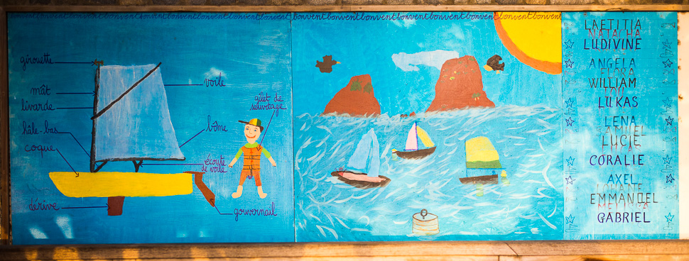 Mural at SAILing SCHOOL AT NEAR-BY St. Barts Yacht CLUB. SMALL SAILBOAT RENTAL AVAILABLE.