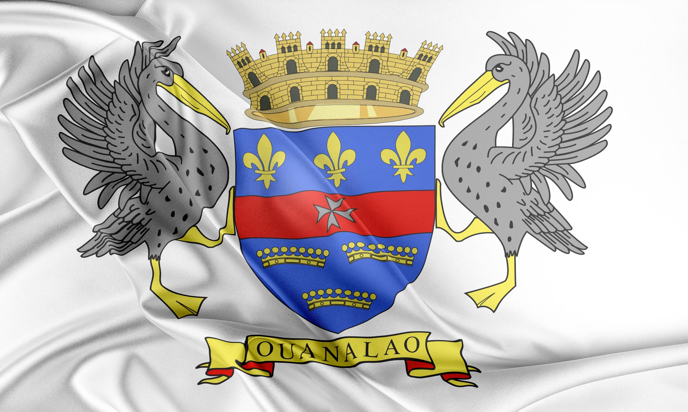 BLASON ET DRAPEAU de ST. BarthÉlemy, Collectivité TERRITORIALE d'outre-mer franÇaise