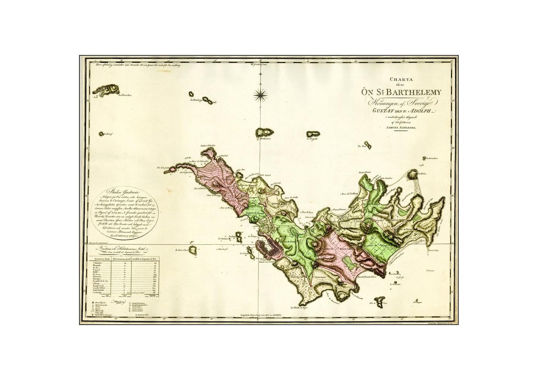 Map / Carte St Barthélemy under Sweden (1801)