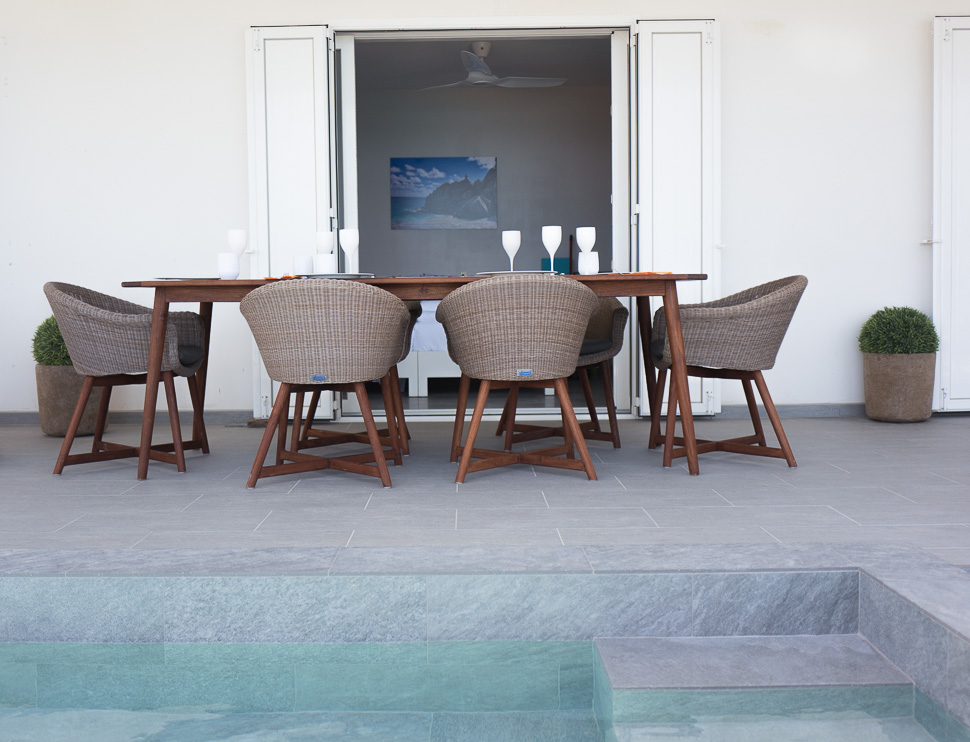 Teak & Wicker Outdoor Dining Table for 6 - 8 persons