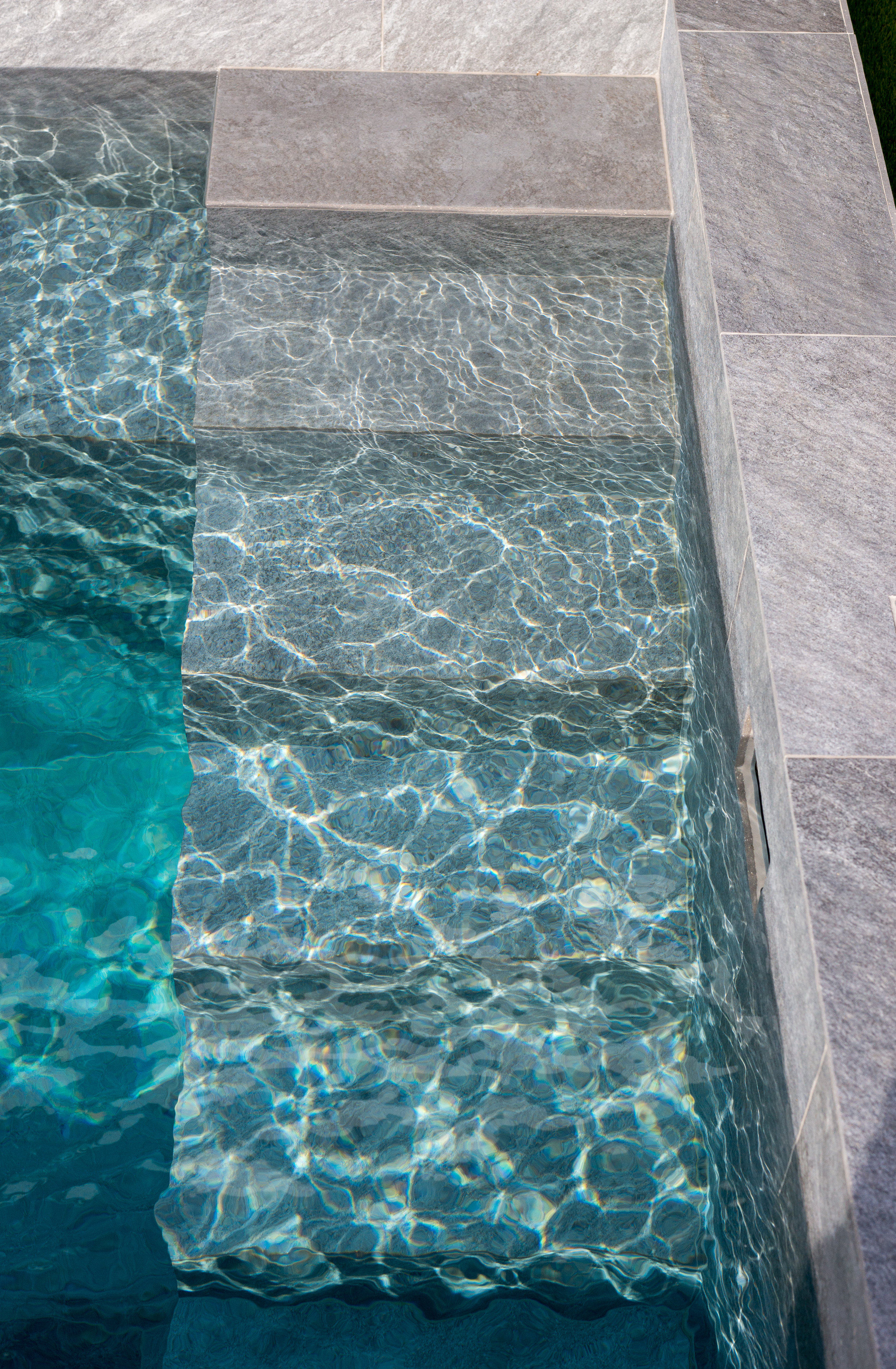 In-water Pool Steps and Full-length Bench