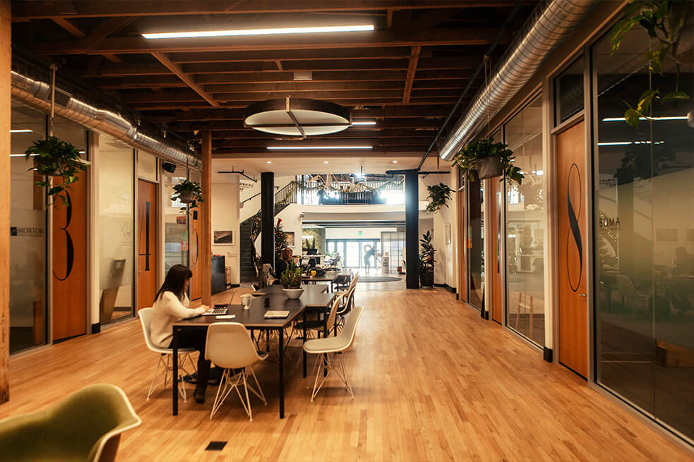 main lobby of impact hub on state street in santa barbara california.jpg