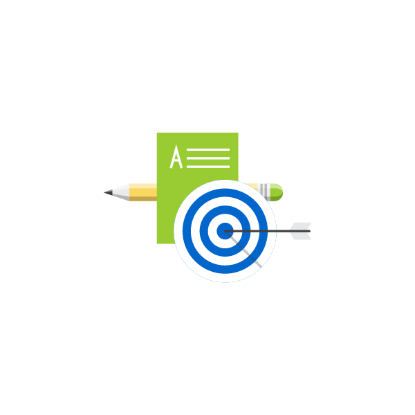 icon of an arrow in a target over a paper and pencil representing targetted instruction