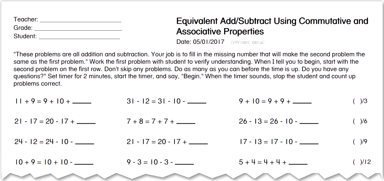 image of a portion of a student assessment with math problems such as 11 + 9 = 9 + 10 + _ and 31 - 12 = 31 - 10 - _