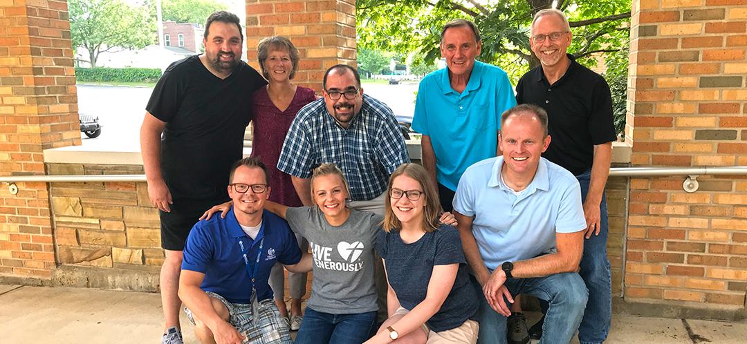 Call Committee members (front row, left to right) Pastor Billy, Jamie Sutherland, Hannah Kroonblawd, Brett Bloebaum, (back row, left to right) Matt Storm, Peggy Kunde, Sol Roberts-Lieb, Paul Colba, Rick Lehner.