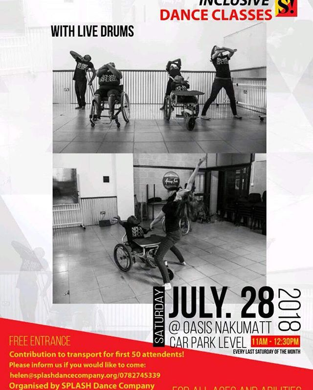 If you're in Kampala you don't want to miss this inclusive dance workshop by @splashdancecompany! Saturday, July 28th basement of Oasis Mall @11am