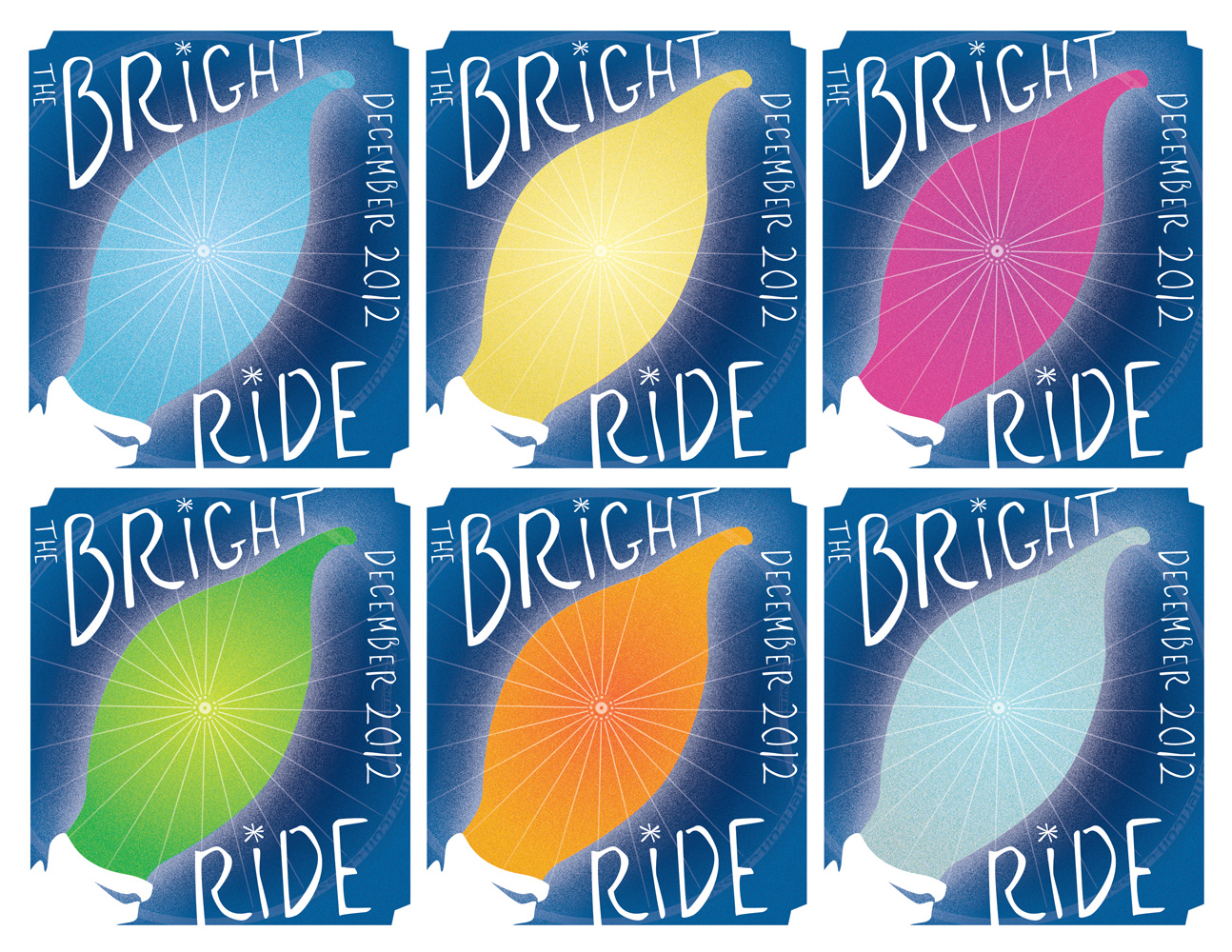 """Bright Ride Spoke Card, 2012. Color variations. Individual cards 4.25"""" x 5.5""""."""