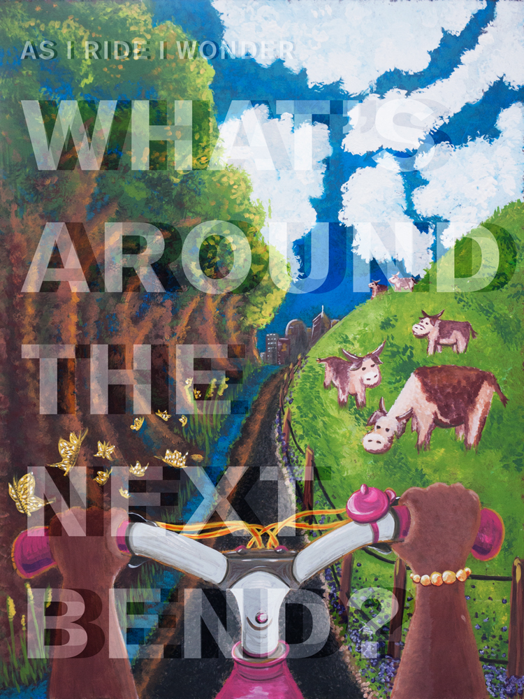"""What's Around the Next Bend? 18"""" x 24"""". Crank Up Cincy poster submission for Bike Month 2016."""
