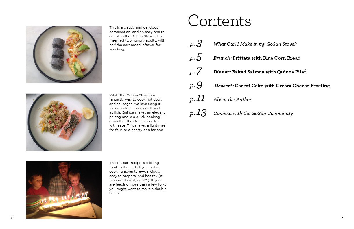 "GoSun Cookbook excerpt, table of contents. 11"" x 17"" spread."