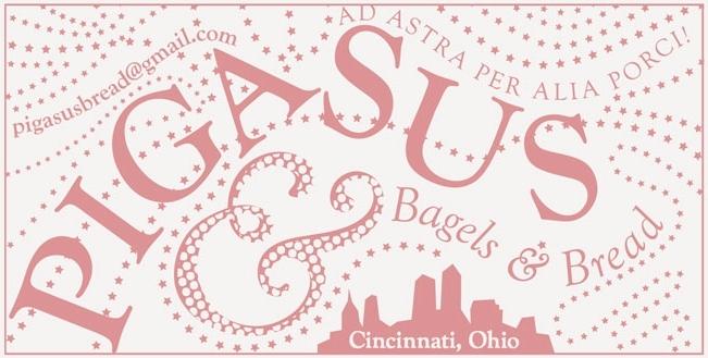 "Pigasus Bagels & Bread stamp (for labeling merchandise bags). 2.5"" x 5.5""."