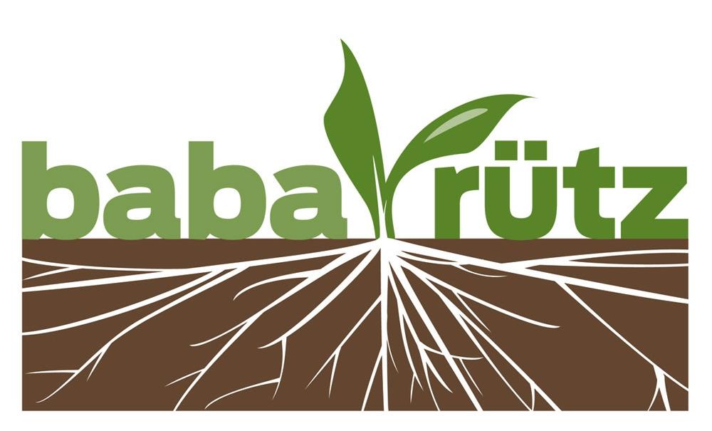 Baba Rütz, an aquaponics start-up, two-color logotype.
