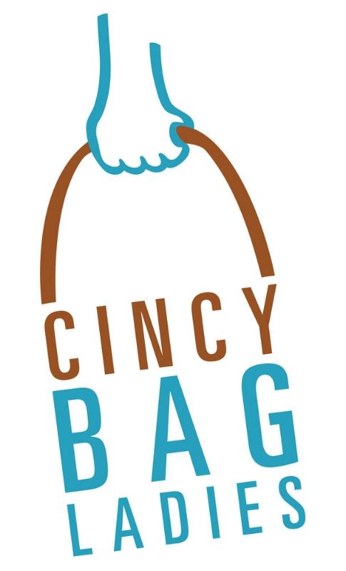 """Cincy Bag Ladies, purveyors of """"walking tacos"""" two-color logotype."""