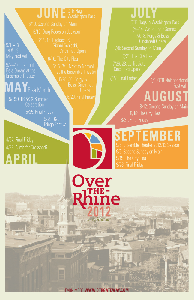 """Over the Rhine Chamber of Commerce Summer Events Calendar, 2012. 11"""" x 17""""."""