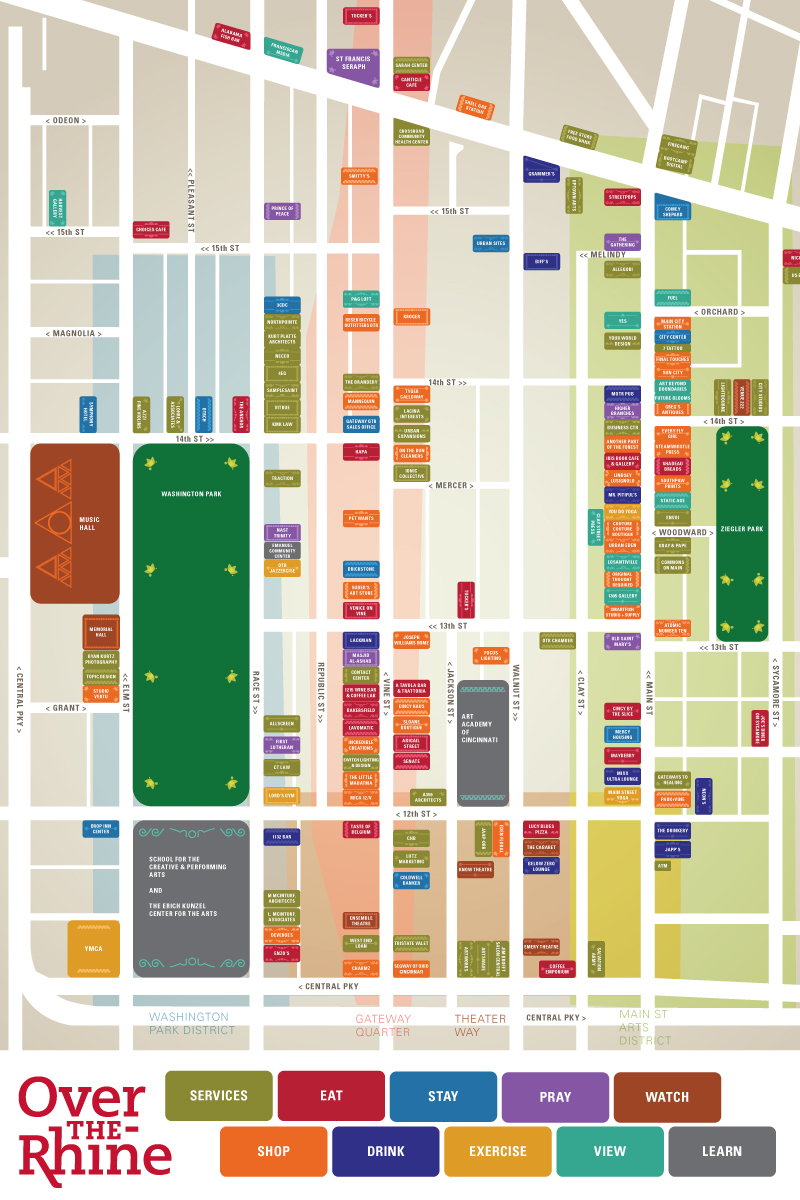 """Over the Rhine Chamber of Commerce Neighborhood Map. 24"""" x 40"""" laminated signs, 11"""" x 17"""" paper tear-away maps."""