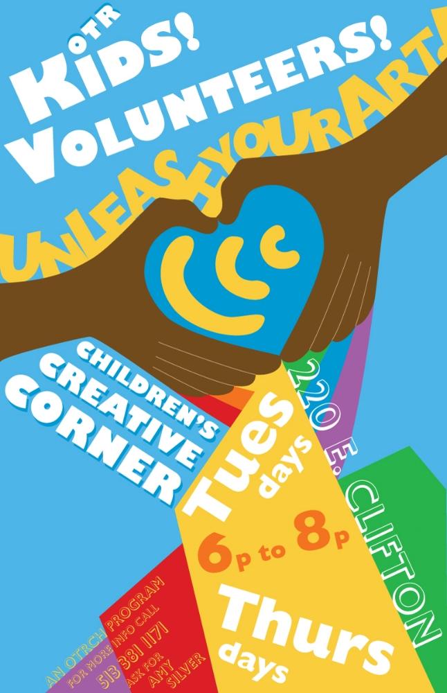 "Over the Rhine Community Housing - Children's Creative Corner Program, volunteer recruitment poster. 11"" x 17""."