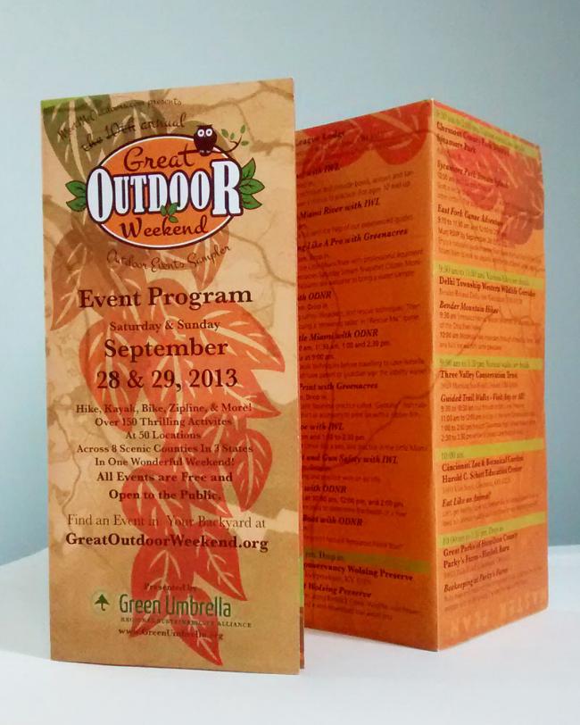"""Great Outdoor Weekend Brochure, exterior (folded). 16"""" x 17""""."""