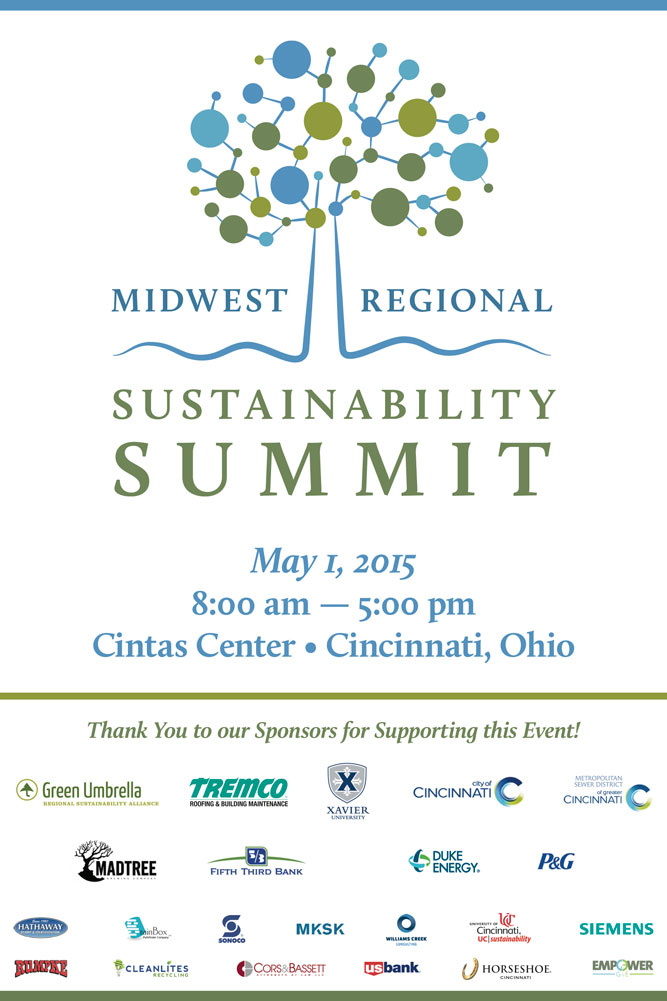 """Midwest Regional Sustainability Summit event signage. Welcome sign 18"""" x 24""""."""
