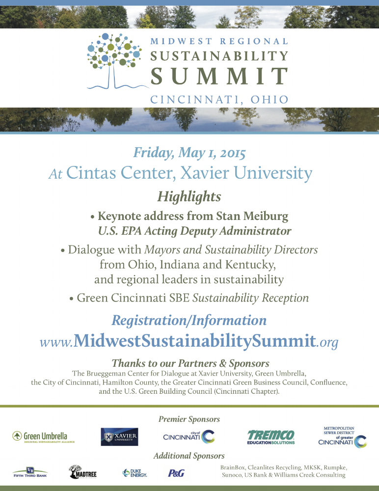 """Midwest Regional Sustainability Summit promotional flyer. PDF and print, 8.5"""" x 11""""."""