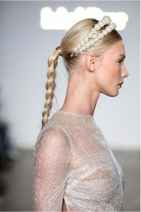 "Lowkey braids pair beautifully with ""statement"" headpieces. - These mega-pearl bands were show-stoppers. 