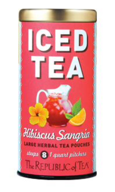 Republic of Tea's Hibiscus Sangria - If company's coming, this is something I like serving as it's super easy, uncommon and delish. The bags are rather large so you can drop one into a big bottle of cold San Pellegrino for an on-the-go libation or as a base for light cocktails in a 3-to-1 tea to vodka ratio.