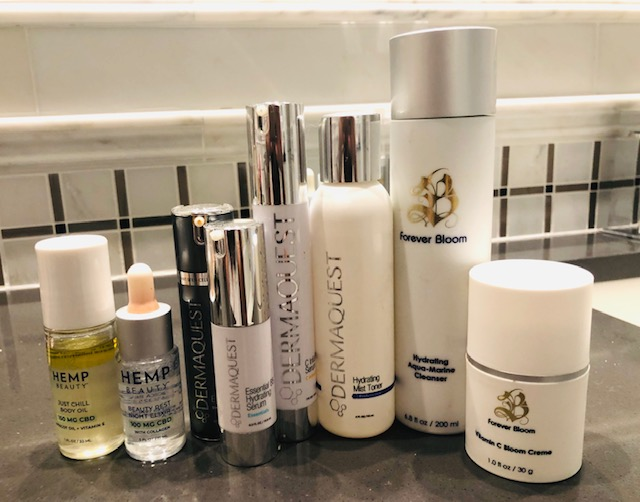 This is a fraction of what I have. Love    Dermaquest   's professional range - beautiful products and incredible serums for every skin type and need. I'm also using Forever Bloom, a terrific new line. Other products I'm using:    HempBeauty's new Beauty Rest Night Elixir   , a light oil. Loving the overnight results.    Just Chill CBD Oil    roller is great for aches and pains — especially on my neck — either from traveling or sitting at the computer all day. It's great on any pressure point or as a moisturizing oil.