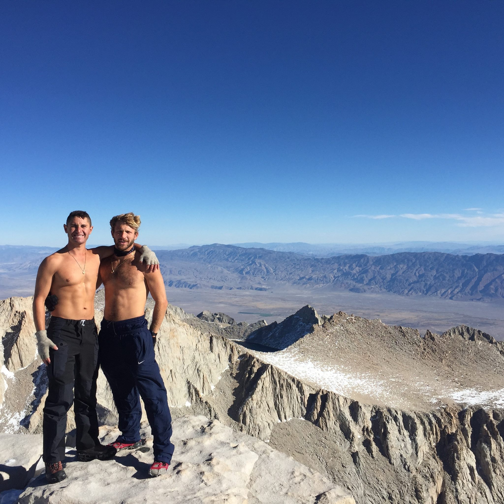 The summit of Mt Whitney a few years ago. Seeing myself as a dreamer that DOES. A good friend of mine Jesse Aston and I take a pic amidst the snow without shirts on. Being goofballs as usual.