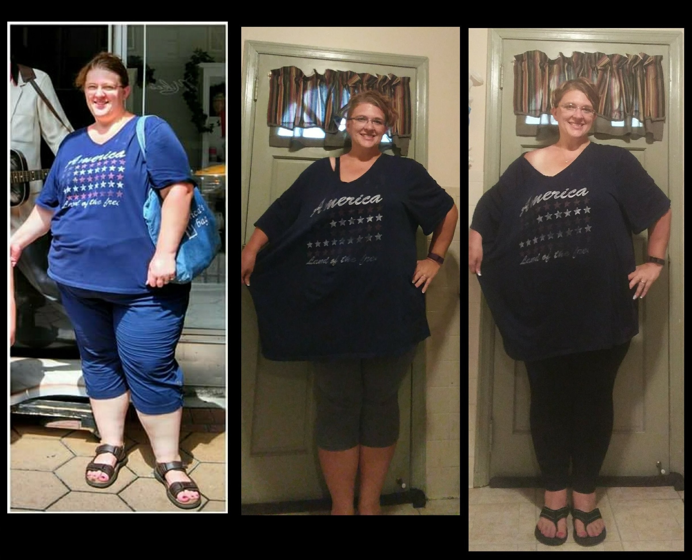 over 100 pounds lighter than where she began