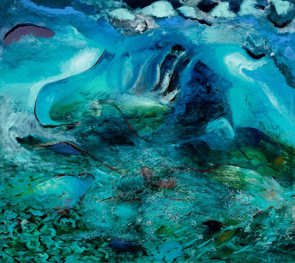 For Poseidon, oil on canvas, 200x222 cm.Photo Angelo Plantamura
