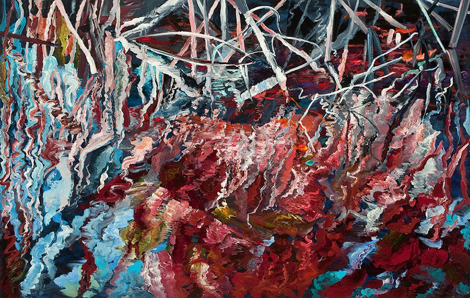 Mangrovia Rosa, oil on canvas, 107x168 cm.Photo Angelo Plantamura