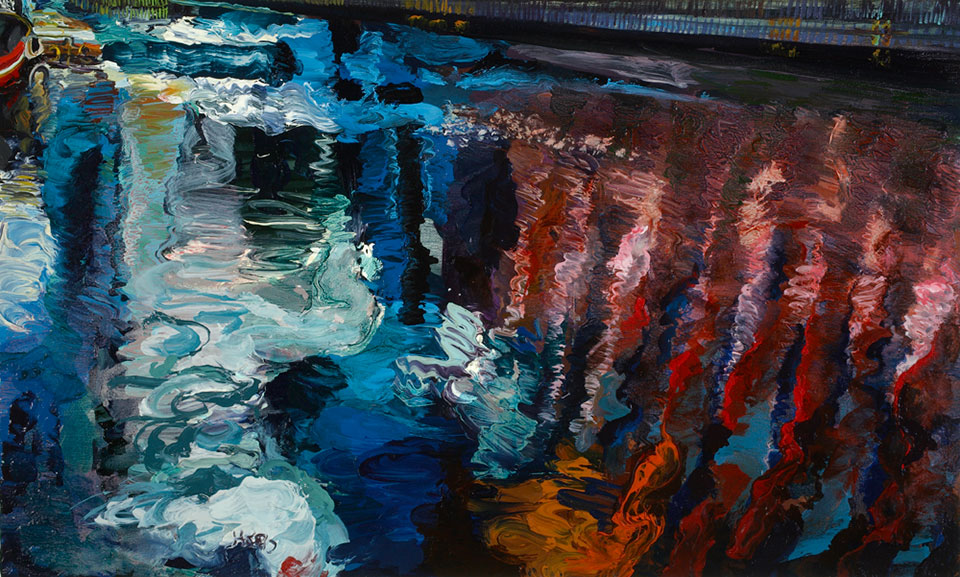 Safety Zones, West India Docks, oil on canvas.Photo Angelo Plantamura